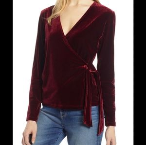 Halogen Burgundy Velvet Ballet Wrap Top Blouse